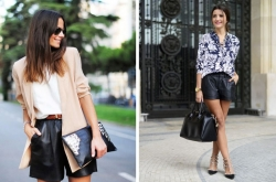 Trendy outfit s koženými šortkami